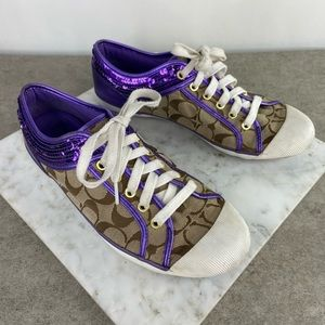 Coach Brown Purple Sequin Lace Up Sneakers